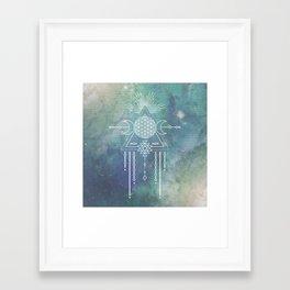 Mandala Flower of Life in Turquoise Stars Framed Art Print