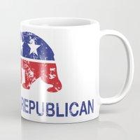 political Mugs featuring California Political Republican Bear Distressed by Republican
