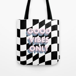 Good Vibes Only Checkerboard Tote Bag
