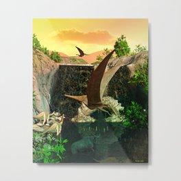 Fantasy Worlds 3D Dinosaur 2 Metal Print