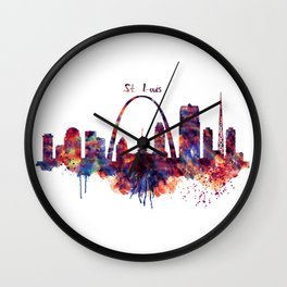 St Louis Watercolor Skyline Wall Clock
