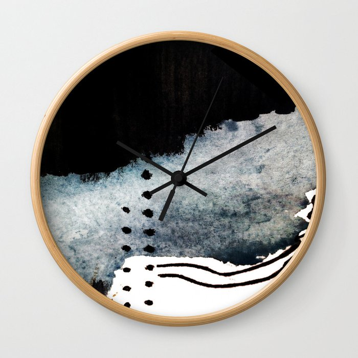 Closer - a black, blue, and white abstract piece Wall Clock