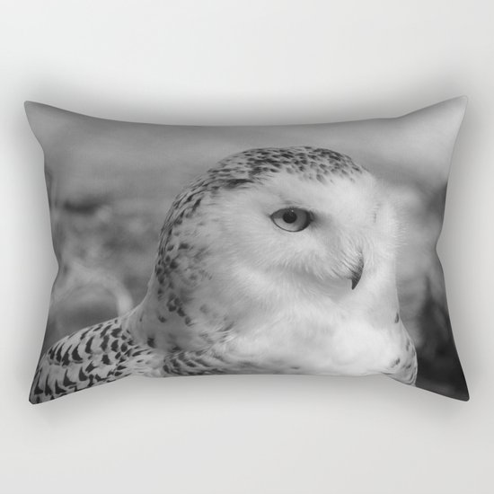 Snowy Owl - B & W Rectangular Pillow