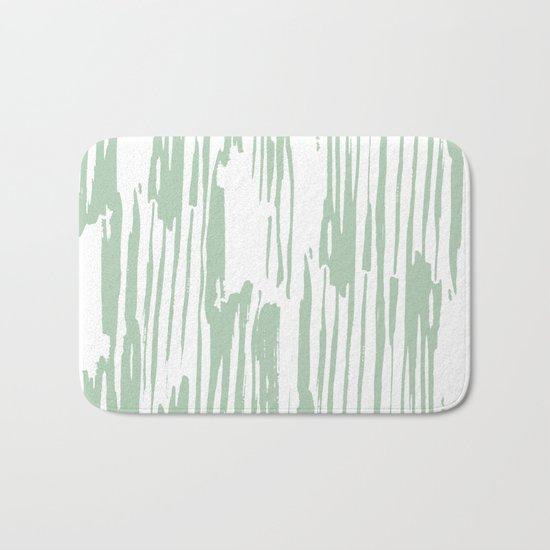 Bamboo Stripe Pastel Cactus Green White Bath Mat