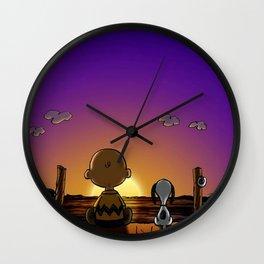snoopy sunset Wall Clock
