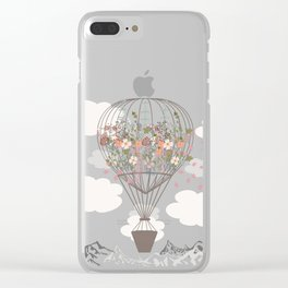 Air balloon with flowers and mountains. Fashion tripping illustration in vintage style Clear iPhone Case