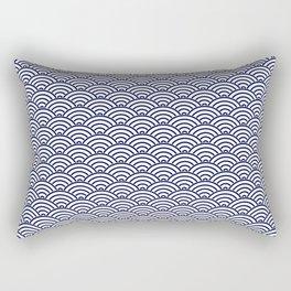 Japanese Koinobori fish scale Delft Blue Rectangular Pillow