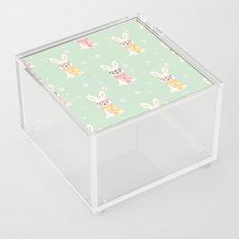 White rabbit Christmas pattern 001 Acrylic Box