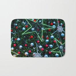 Decorated Christmas Tree, Stars, Balls Bath Mat