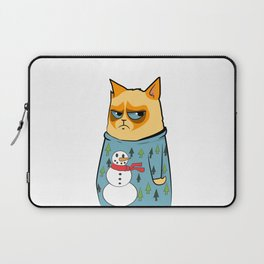 Ginger cat in Holiday Sweater 01 Laptop Sleeve