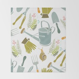 Spring background, gardening tools and snails Throw Blanket