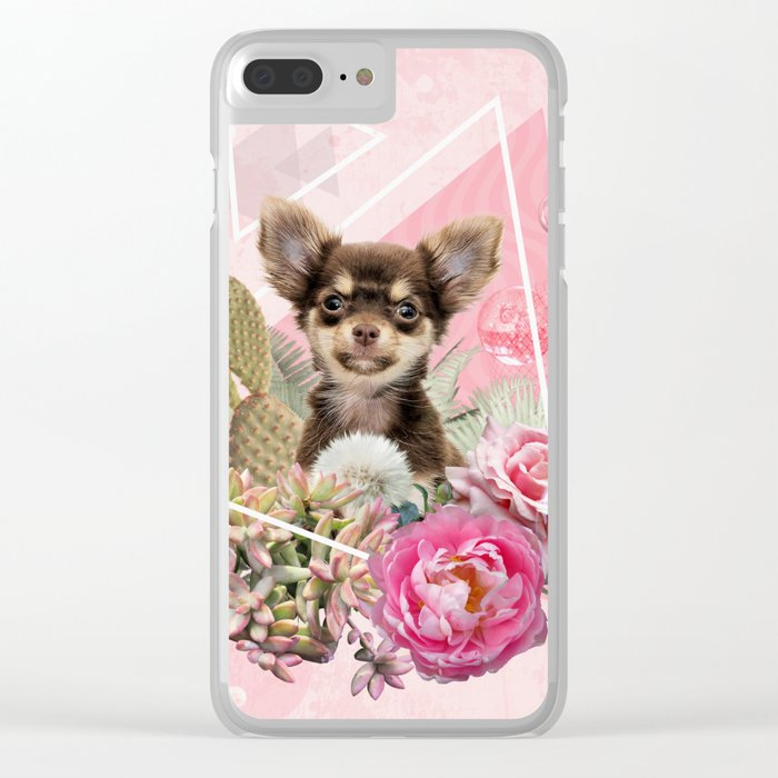 Eclectic Geometrical Chihuahua Clear iPhone Case