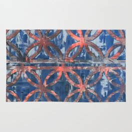 Abstract Blue Faded Pattearn Rug