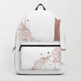 Letter L Rose Gold Pink Initial Monogram Backpack