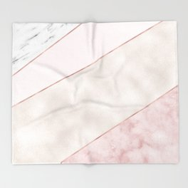 Spliced mixed pink marble and rose gold Throw Blanket