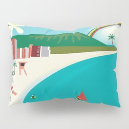 Oahu, Hawaii - Skyline Illustration by Loose Petals Pillow Sham