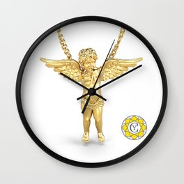 Gold Angel Pendant and Chain Trompe L'oeil YC Wall Clock