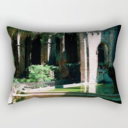 Barcelona Church Pond with Frog by photographer Larry Simpson Rectangular Pillow
