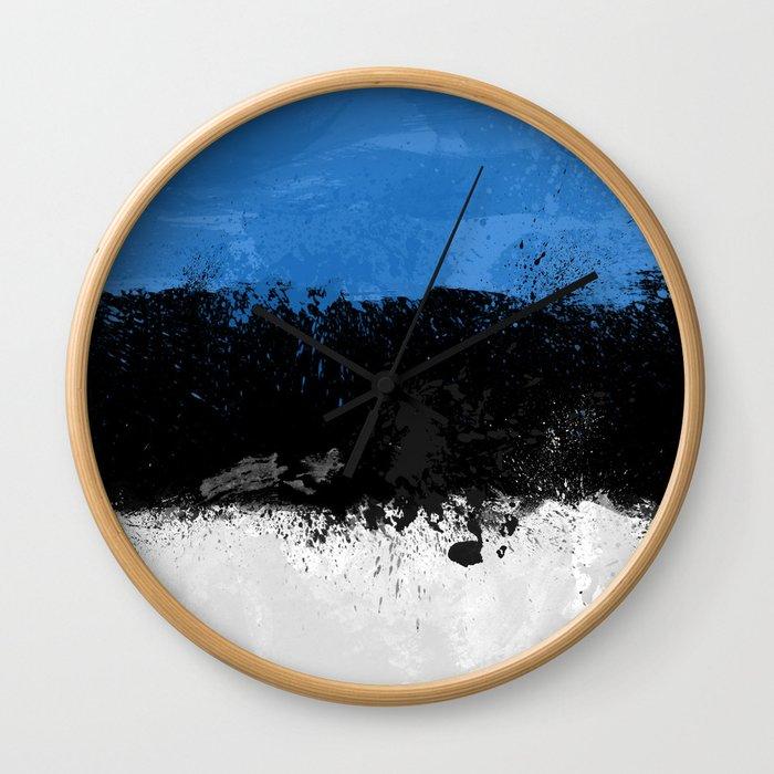 Estonia Flag Grunge Wall Clock