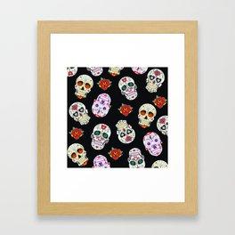 Sugar Skull Pattern Framed Art Print