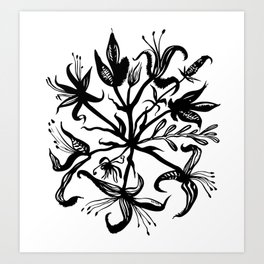 Black bouquet Art Print