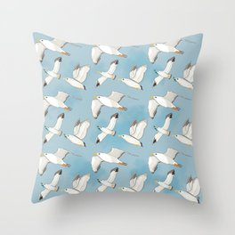 Seagulls Flying Pattern Throw Pillow