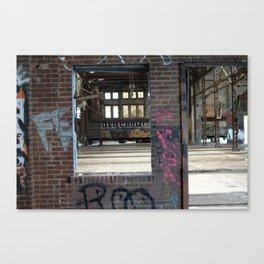 FE Window Graffiti and Train Canvas Print
