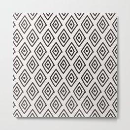 Hand painted black white geometrical diamond polka dots Metal Print