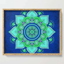 Blue Flower Mandala Serving Tray