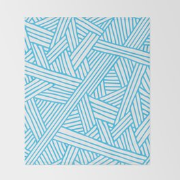 Abstract Teal & white Lines and Triangles Pattern - Mix and Match with Simplicity of Life Throw Blanket
