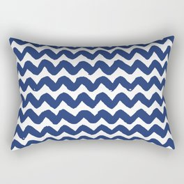 Navy Brushstroke Chevron Pattern Rectangular Pillow