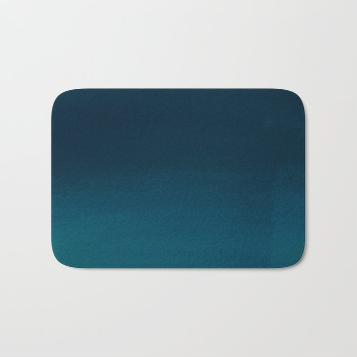 Navy blue teal hand painted watercolor paint ombre Badematte