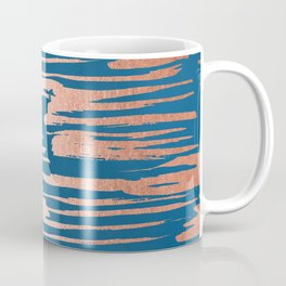 Tiger Paint Stripes - Sweet Peach Shimmer on Saltwater Taffy Teal Coffee Mug