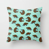 platypus Throw Pillows featuring Platypus Love by Joanne Paynter