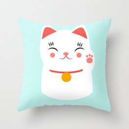 Lucky happy Japanese cat Throw Pillow