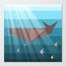 LIVING SEA (origami animals whales) Canvas Print