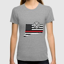 Connecticut Firefighter Shield Thin Red Line Flag T-shirt