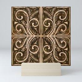 New Zealand koru fern lino cut Mini Art Print