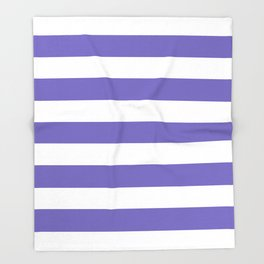 Blue-violet (Crayola) - solid color - white stripes pattern Throw Blanket
