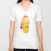 kill bill V-neck T-shirts featuring Kokeshi Beatrix of Kill Bill by Pendientera