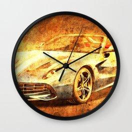 F60 America 2 speed sport race car golden poster for men Wall Clock