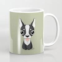 french bulldog Mugs featuring French Bulldog by Freeminds
