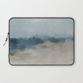 Navy Ocean Horizon Sandy Sunny Beach Day Clear Blue Skies Abstract Nature Painting Art Print Wall Decor  Laptop Sleeve