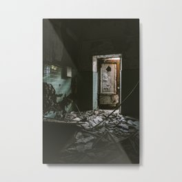 Scary Room And Open Door In Abandoned Building Metal Print
