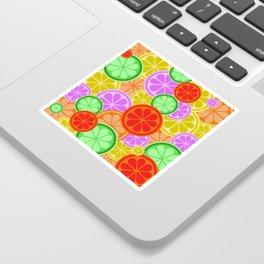 Citrus Explosion - A Pattern of Many Fruits from the Citrus Family Sticker