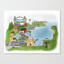 Louisbourg Illustrated in Color Canvas Print