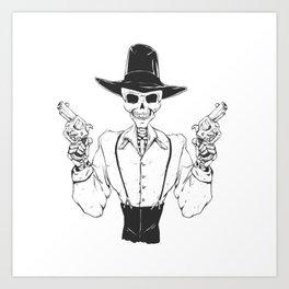 Gangster skull - grim  reaper cartoon - black and white Art Print