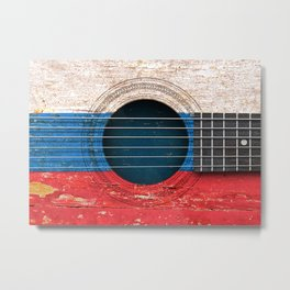 Old Vintage Acoustic Guitar with Russian Flag Metal Print
