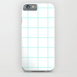 Graph Paper (Turquoise & White Pattern) iPhone Case
