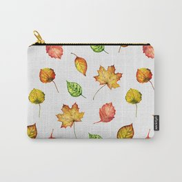 Hand painted green gold brown red Autumn leaves Carry-All Pouch